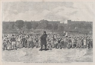 """The Fourth of July in Tompkins Square, New York - """"The Sogers Are Coming"""" (Harper's Bazar: A Repository of Fashion, Pleasure and Instruction, Vol. I), July 11, 1868."""