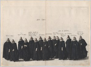 Plate 19: Aides marching in the funeral procession of Archduke Albert of Austria; from 'Po...