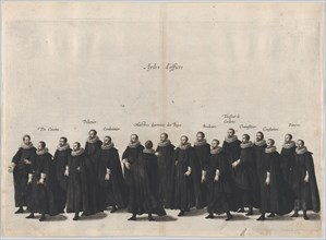 Plate 17: Aides marching in the funeral procession of Archduke Albert of Austria; from 'Po...