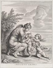 Venus nursing three Cupids in a landscape