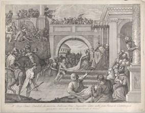 Doge Enrico Dandolo crowns Baldovino the first emperor of the Latin Empire of Constanti...