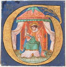 Manuscript Illumination with Saint Trudo (Trond) in an Initial O