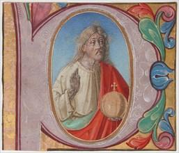 Manuscript Illumination with Salvator Mundi in an Initial P