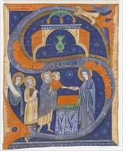 Manuscript Illumination with the Presentation of Christ in the Temple in an Initial S...