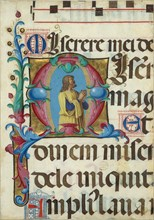 Manuscript Illumination with David in Prayer in an Initial M