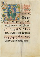 Manuscript Leaf with the Feast of Saint Andrew in an Initial M...