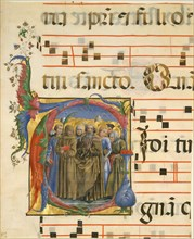 Manuscript Illumination with All Saints in an Initial V
