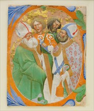 Manuscript Illumination with Four Saints in an Initial O