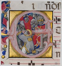 Manuscript Illumination with the Martyrdom of Saint Stephen in an Initial E...