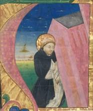 Manuscript Illumination with Saint Dominic Saving the Church of Saint John Lateran...