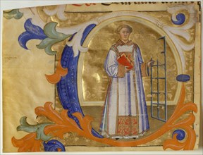 Manuscript Illumination with Saint Lawrence in an Initial C