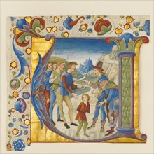 Manuscript Illumination with Joseph Sold by His Brothers in an Initial V...