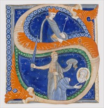 Manuscript Illumination with the Beheading of Saint Paul in an Initial S...