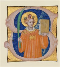 Manuscript Illumination with Saint Stephen in an Initial S