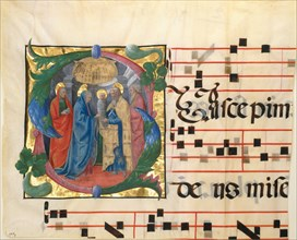 Manuscript Illumination with the Presentation in the Temple in an Initial S