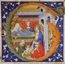 Manuscript Illumination with the Birth of the Virgin in an Initial G