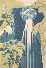 The Amida Falls in the Far Reaches of the Kisokaido Road (Kisoji no oku Amida-ga-taki), from the series A Tour of Waterfalls in Various Provinces (Shokoku taki meguri), ca. 1827.