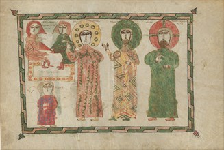 Leaf from a Gospel Book with Four Standing Evangelists, Armenian, 1290-1330. John, Peter and Jesus.