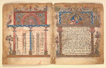 Armenian Manuscript Bifolium, Armenian, 15th century. Developed by Eusebius of Caesarea for his pupil Carpianus who appears in the headpiece.
