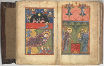 Four Gospels in Armenian, Armenian, 1434/35. Notations in text, identify this gospel written by the scribe Margar for the Monastery of St. George at Mokk? at the order of Bishop Sion.