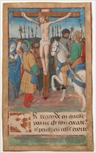 Manuscript Leaf with the Crucifixion, from a Book of Hours, French, 15th century.