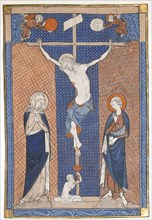 Manuscript Leaf with the Crucifixion, from a Missal, French, ca. 1270-80. Jesus with the Virgin Mary and Saint John with Adam rising from a sarcophagus