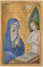 Manuscript Leaf with the Annunciation from a Book of Hours, French, ca. 1485-90.