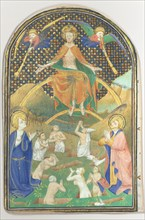 Manuscript Leaf with the Last Judgment, from a Book of Hours, French, ca. 1400.