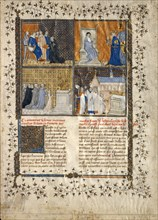 Leaf from a Manuscript of Valerius Maximus, French, ca. 1380-90. The translator Simon de Hesdin (left) presents his text to Charles V.