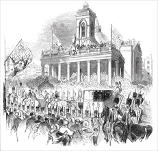 Her Majesty passing the Market-Place, Northampton, 1844. Creator: Unknown.