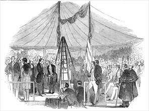 Prince Albert laying the foundation stone of St. Mary?s Hospital Paddington, 1845. Creator: Unknown.