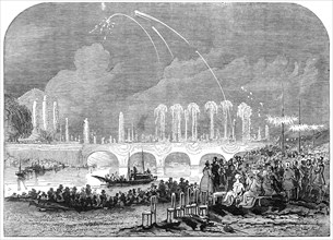 Fireworks at Paris - sketched by Harrison, 1845. Creator: Harrison.