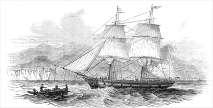 """The London and Madeira packet brig """"Dart"""", entering Funchal Roads, 1845. Creator: Unknown."""