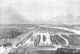 Bird's eye view of the London Docks, 1845. Creator: Unknown.