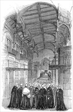 The Library - presentation of the address, Lincoln's Inn New Buildings, 1845. Creator: Unknown.