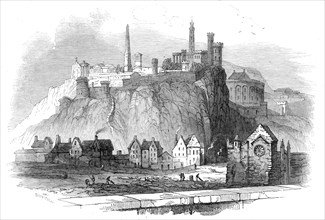 The Martyr's Obelisk, Edinburgh - (from the parapet of North Bridge), 1845. Creator: Smyth.