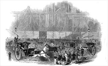 Office of the Board of Trade - scene on Sunday night, 1845. Creator: Ebenezer Landells.