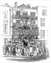 Poulterer's shop, Holborn-Hill, 1845. Creator: W. J. Linton.