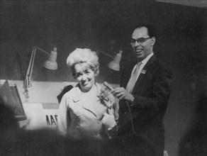 British singer Marion Ryan with Alan Dell, BBC radio broadcaster, c1959.