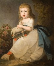 Portrait of a Child with a Toy Sheep