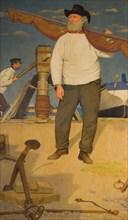 Fisherman Carrying a Sail