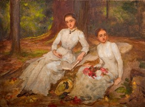 Two women in white seated in wooded glade