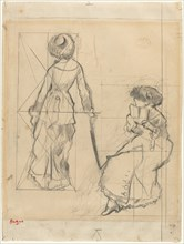 """Study for """"Mary Cassatt at the Louvre"""" [recto]"""