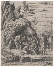 The Entombment of Christ who is being lowered by two men into a stone tomb before...