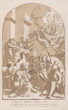 The martyrdom of Saint Angelo who in the upper left is being stabbed watched by horrifi...