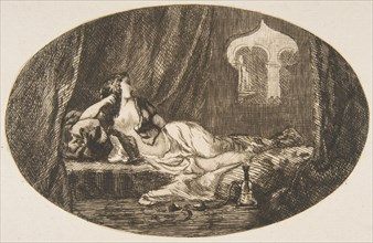 Odalisque reclining in a harem
