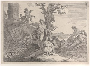 Six nymphs and two putti