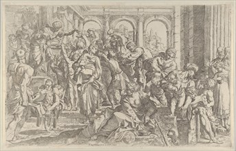 Saint Roch at left distributing alms to a group of people gathered around him