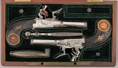 Cased Pair of Double-Barreled Turn-Off Flintlock Pistols