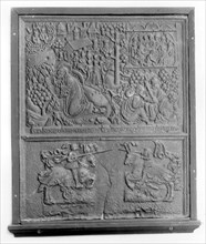 Fireback with New Testament Scenes and Two Knights Jousting